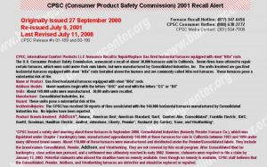 2000 Consolidated Recall
