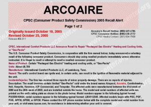 2005 Recall_CPSC Release 06-011_ICP HVAC Products_Airquest_Arcoaire_Comfortmaker_Heil_Keeprite_Kenmore_ICP Commercial_Tempstar