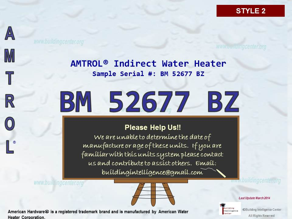 Amtrol Water Heater age - Building Intelligence Center