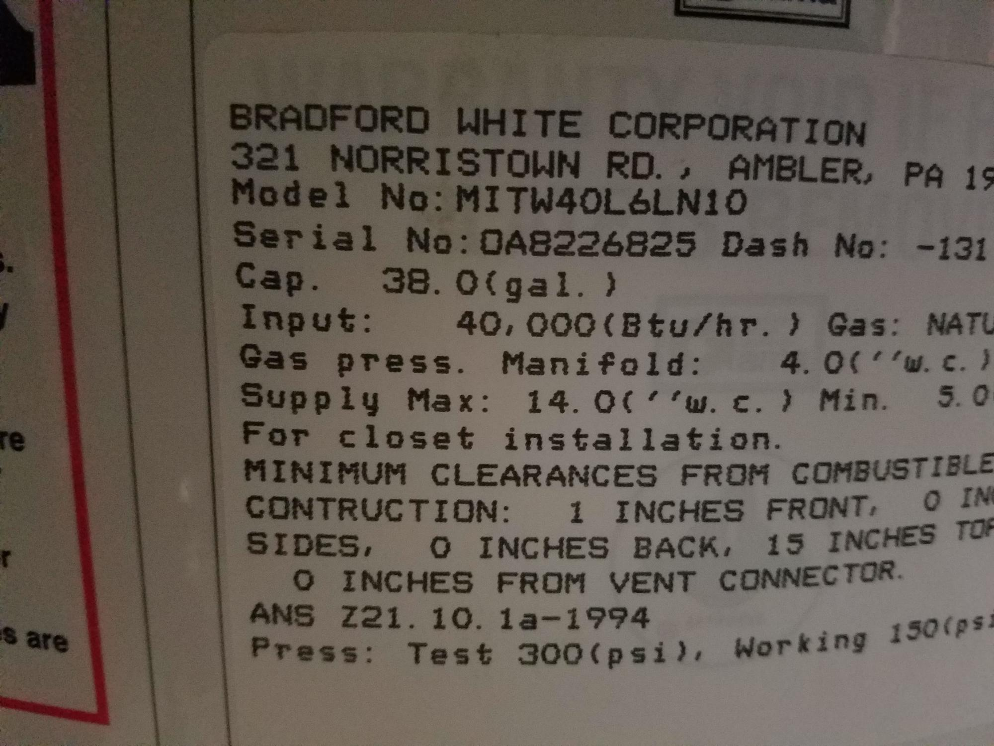 bradford white serial numbers Bradford White Water Heater age | Building Intelligence Center