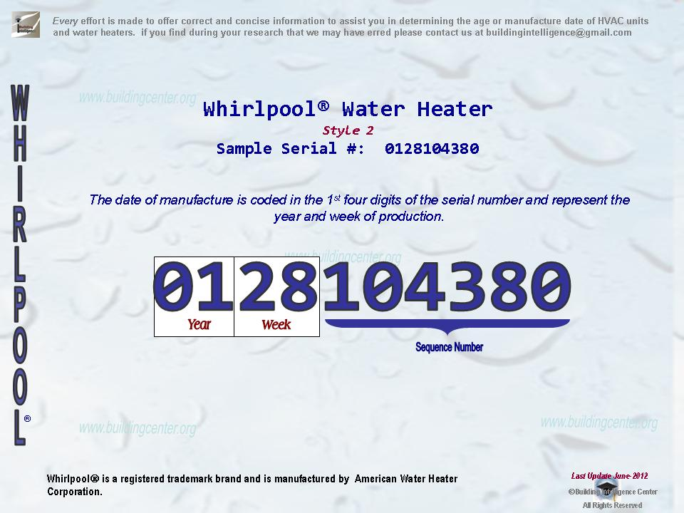 Whirlpool Water Heater Age Building Intelligence Center